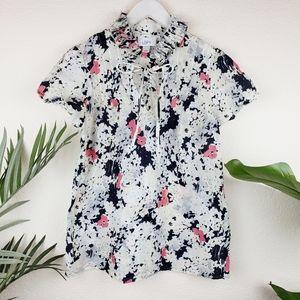 LOFT   Cotton/Silk Blend Floral Print Blouse Top S